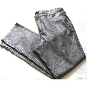 Ashley Stewart METALLIC SILVER Jeans Plus Size 18